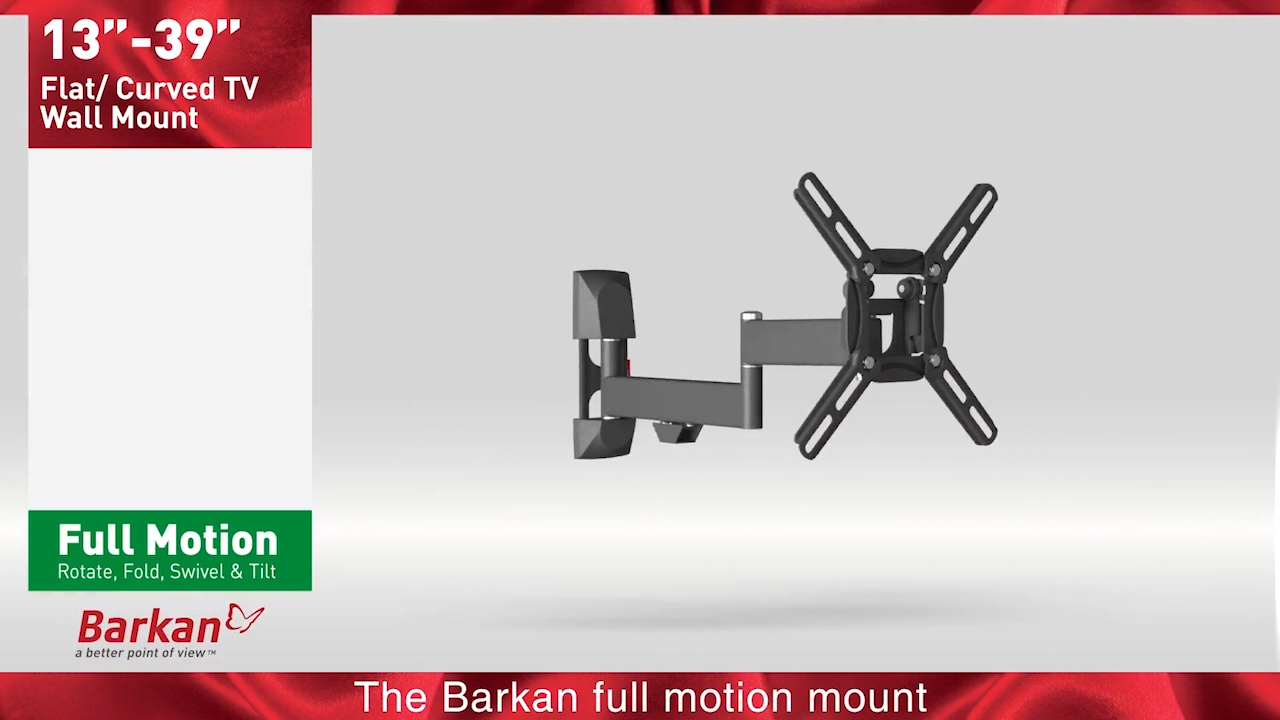 Barkan Full Motion TV Wall Mount for Curved / Flat 19\
