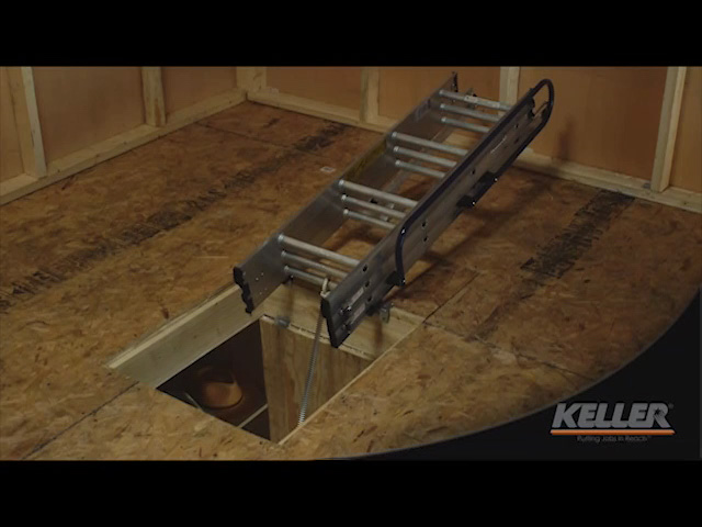 Keller® Compact Small Spaces 7u0027 To 9u0027 Aluminum Attic Ladder Type I At  Menards®
